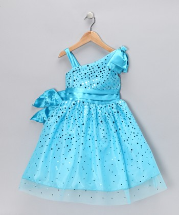 Turquoise Glimmer Dress - Toddler & Girls