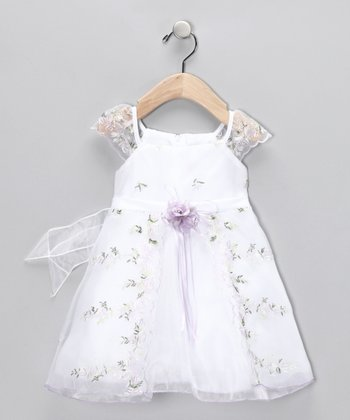 Wisteria Floral Angel-Sleeve Dress - Infant
