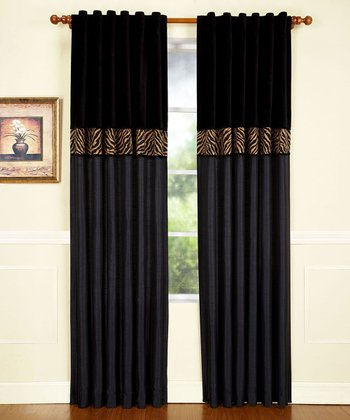 Black & Tan Zebra Curtain Panel