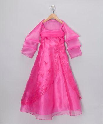 Chic Baby Fuchsia Dress & Shawl - Girls
