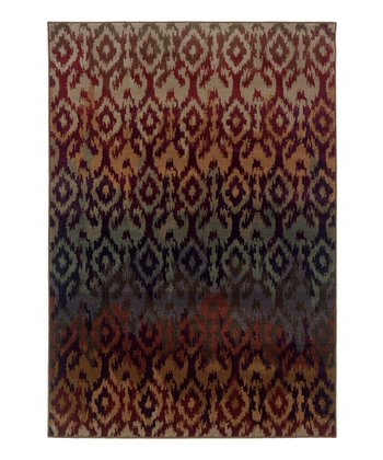 Brown & Blue Ikat Zara Rug