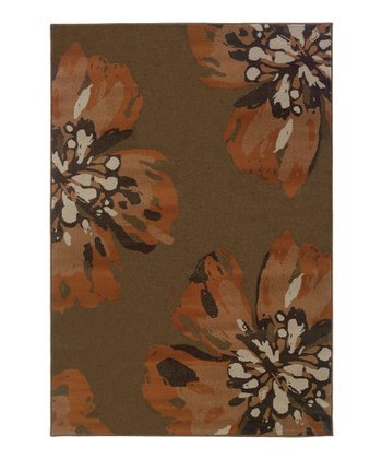 Brown Flower Zara Rug
