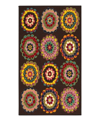 zulily-Exclusive Brown Medallion Blossom Rug