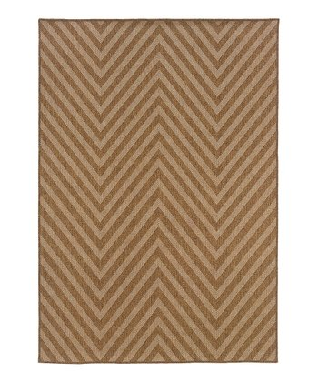 Tan Zigzag Indoor/Outdoor Rug