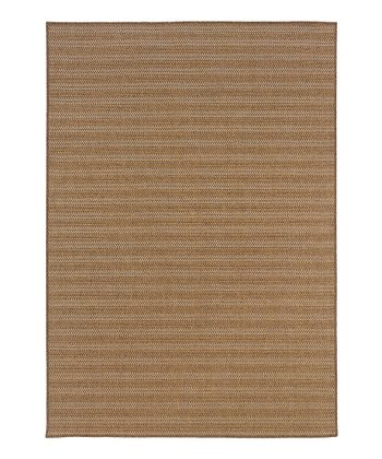 Tan Horizontal Stripe Indoor/Outdoor Rug