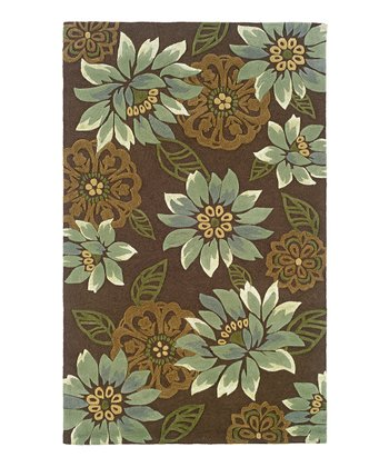 Chocolate & Blue Floral Bella Rug