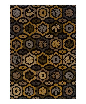 Black & Brown Floral Rug
