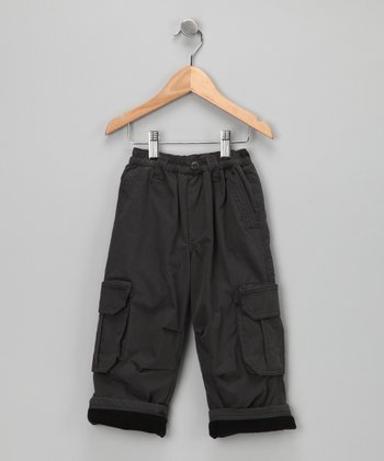 Charcoal Fleece-Lined Cargo Pants - Toddler