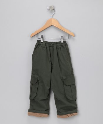 Olive Lined Cargo Pants - Toddler & Boys
