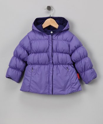 Grape & Wisteria Down Reversible Short Puffer Jacket - Girls