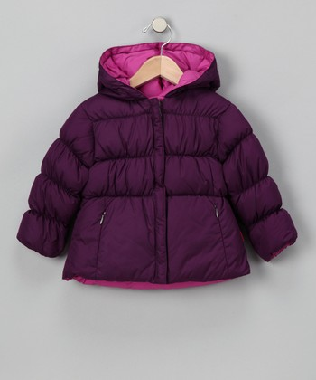 Plum & Orchid Reversible Short Down Jacket - Toddler & Girls