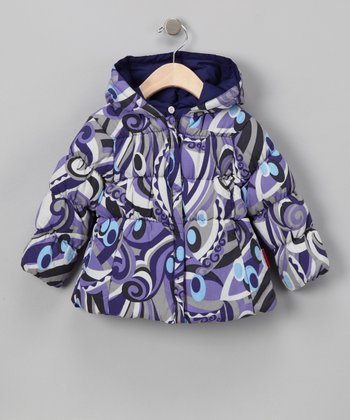 Milano Print & Grape Reversible Short Down Jacket - Toddler & Girls