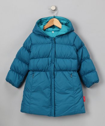 Emerald & Jade Reversible Long Puffer Coat - Toddler