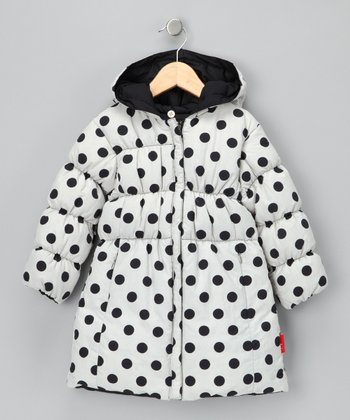 Oat & Black Reversible Long Puffer Coat - Toddler & Girls