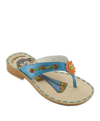 Turquoise Floral Beaded Tammy Leather Sandal