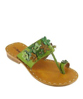 Olive Green Floral Sage Leather Sandal