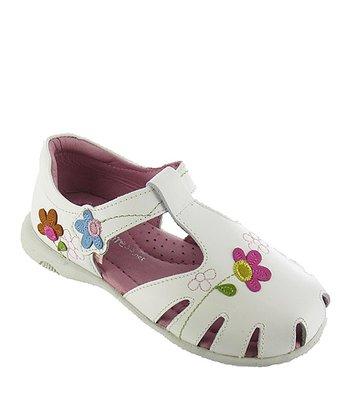 White Diane Leather Closed-Toe Sandal