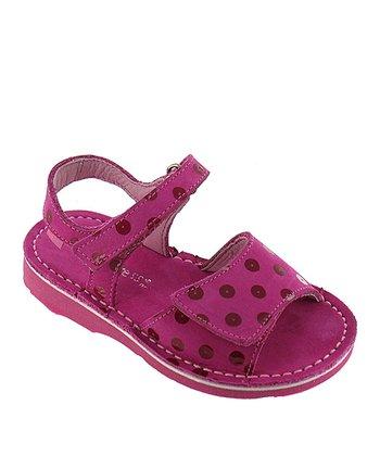 Fuchsia Polka Dot Gina Leather Sandal
