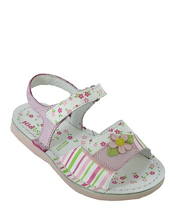 Pink Stripe Floral Aimee Leather Sandal