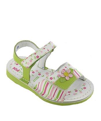 Lime Stripe Floral Aimee Leather Sandal