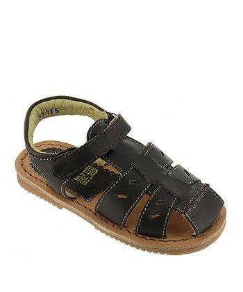 Dark Brown Hudson Leather Closed-Toe Sandal