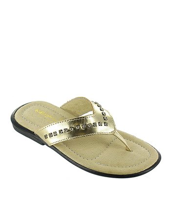Gold Metallic Arianna Leather Flip-Flop