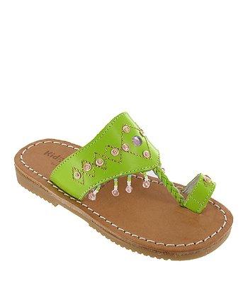 Lime Beaded Guadaloupe Leather Sandal