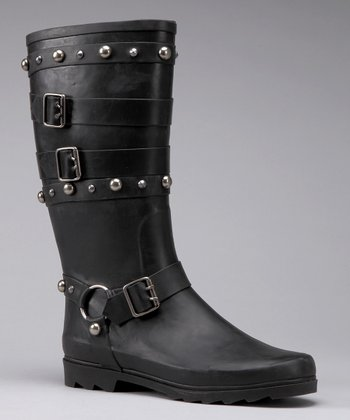 Black Trash Rain Boot