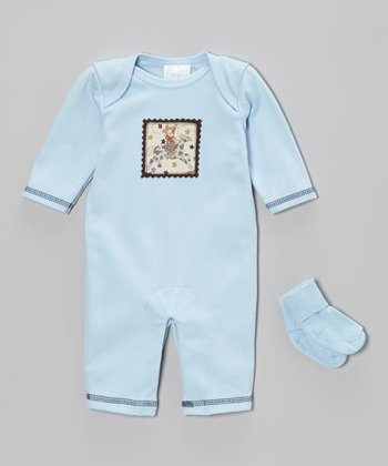 Blue Cowboy Playsuit & Socks - Infant