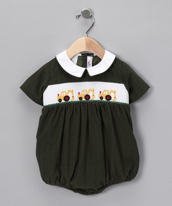 Green & Black Tractor Bubble Bodysuit - Infant