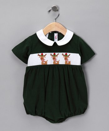 Hunter Green Corduroy Rudolph Bubble Bodysuit - Infant