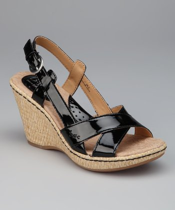 Black Patent Kelly Wedge