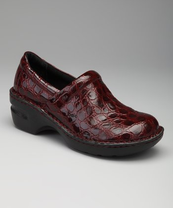 Wine Patent Crocodile Peggy Clog