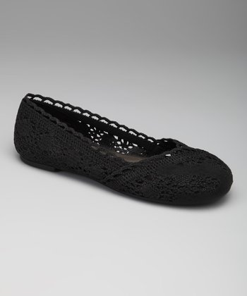 Black Crochet Sindy Ballet Flat