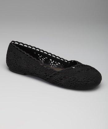 Black Crocheted Sindy Ballet Flat