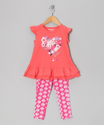 Pink 'Happy' Daisy Tunic & Leggings - Infant