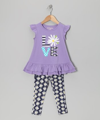 Purple & Navy 'Love' Daisy Tunic & Leggings - Infant