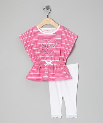 Pink Stripe 'Love' Tunic & Leggings - Infant