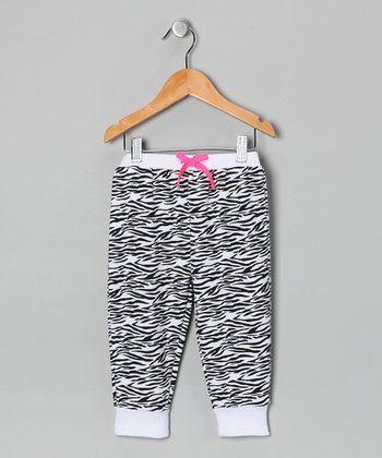 White & Black Zebra French Terry Pants - Infant
