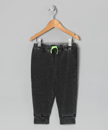 Dark Gray Acid Wash French Terry Pants - Infant