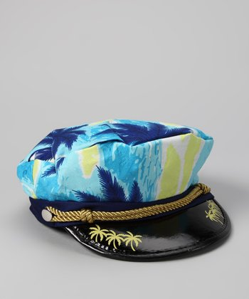 White & Blue Captain Paradise Cap - Kids