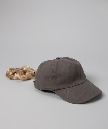 Gray & Blonde Ponytail Baseball Hat - Kids