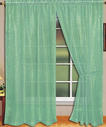 Lime Sheer Curtain Panel - Set of Two