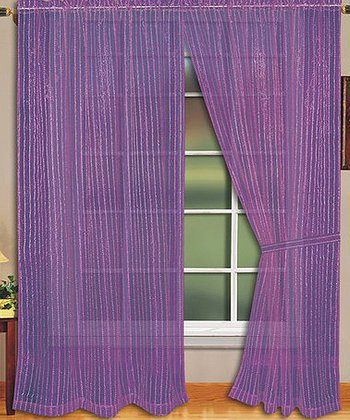 Purple Sheer Curtain Panel - Set of Two