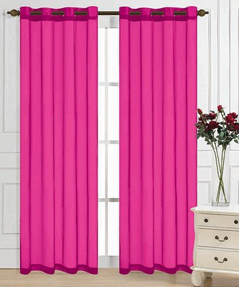 Fuchsia Color Tones Curtain Panel - Set of Two