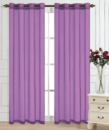 Lilac Color Tones Curtain Panel - Set of Two