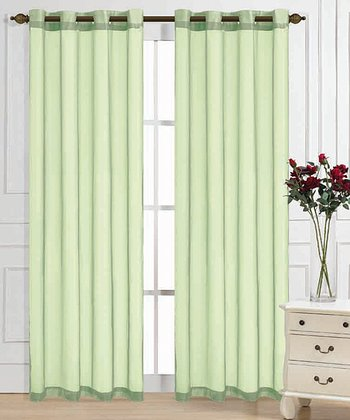 Lime Color Tones Curtain Panel - Set of Two