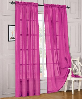 Fuchsia Voile Curtain Panel - Set of Two