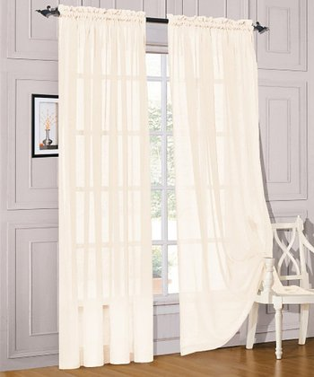 Ivory Voile Curtain Panel - Set of Two