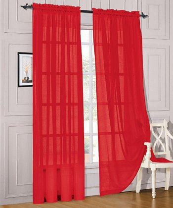 Red Voile Curtain Panel - Set of Two